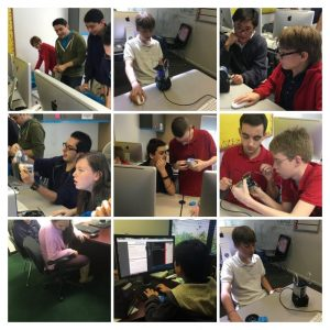 collage of photos showing students working on a project