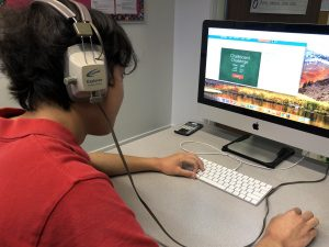 photo of student using a computer