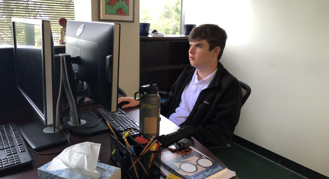 photo of student on computer